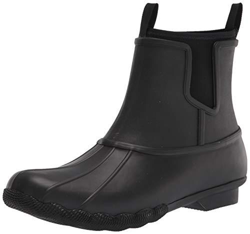 Sperry Women's Saltwater Chelsea Rain Boot, Black/Black, 11