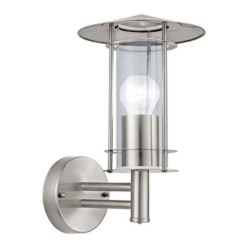 EGLO Außen-Wandlampe Lisio, 1 flammige Außenleuchte, Wandleuchte aus Edestahl, Farbe: Silber, Glas: klar, Fassung: E27, IP44
