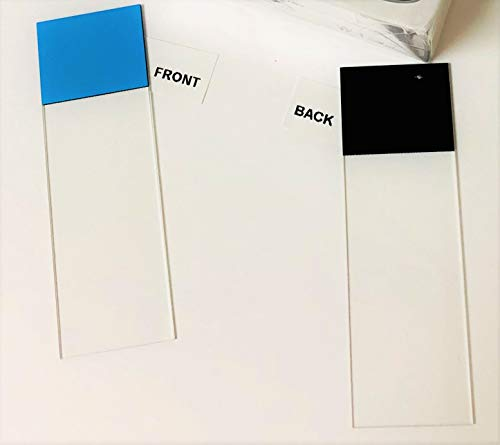 Etcher Microscope Slides (Hareta Brand) - Non-Charged- 90-Degree corners-1440 Pieces (72 Pieces per Box / 20 Boxes per case White/Blue/Yellow/Pink/Green Paint on Black Background) (White)