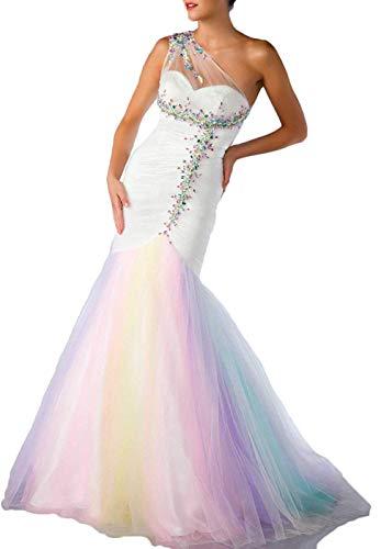 CoCogirls Damen Eine Schulter Meerjungfrau Perlen Tüll Regenbogen Ballkleider Abendkleid Party Kleid Kleider (Bunt, 36)