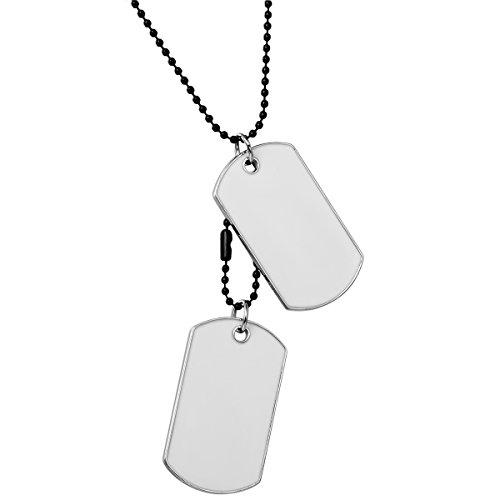 JewelryWe Schmuck Herren Halskette, 2 Militärischen Erkennungsmarken Armee Stil Dog Tag Anhänger mit 70cm Kette, Weiß