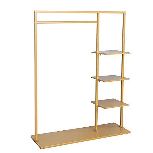 inChengGouFouX Regali Domestici 4-Strato di Oro Freestanding Metallo Abbigliamento Rack con ripiano Armadio Storage Box Appendiabiti Universali (Colore : Gold, Size : 120x40x155cm)