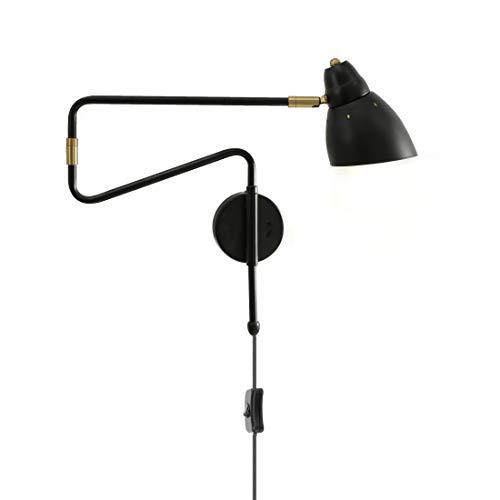 Wandleuchte aus Metall Innen Nachttisch Wandlampe, 360° Schwenkbar Langer Arm, Wohnzimmer Wand Leselampe mit Schalter und 1.5m Kabel Stecker, Moderne Wandlampen für Schlafzimmer Esszimmer (Black 2)