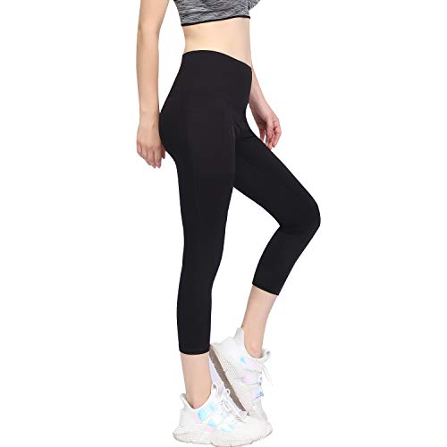 GIEADUN Cintura Alta Pantalón Deportivo de Mujer Leggings Mallas para Running Training Fitness Estiramiento Yoga y Pilates (negro Large)