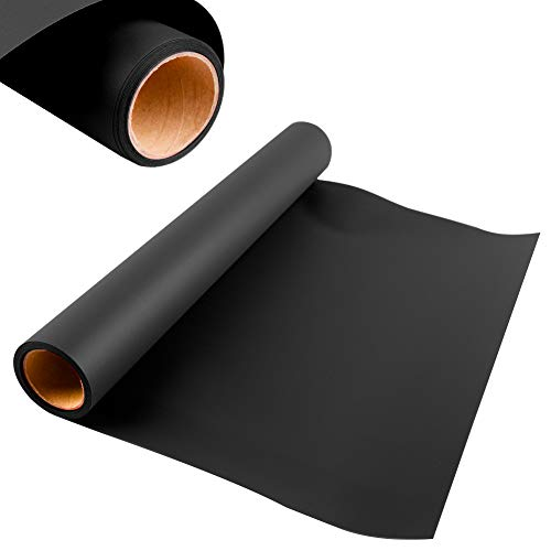 KISSWILL Heat Transfer Vinyl 12 Inches by 6 Feet Roll for T-Shirts, Hats, Clothing, Iron on HTV Vinyl Compatible with Cricut, Cameo, Heat Press Machines (Black)