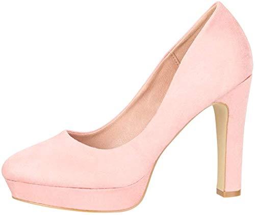 Elara Damen Pumps High Heels Vintage Abendschuh Chunkyrayan E22360-Pink-40