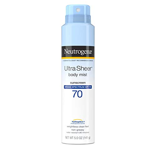 Neutrogena Ultra Sheer Body Mist Sunscreen Spray Broad Spectrum SPF 70, Lightweight, Non-Greasy & Water Resistant, Oil-Free & Non-Comedogenic Sunscreen Mist, 5 oz (Pack of 3)