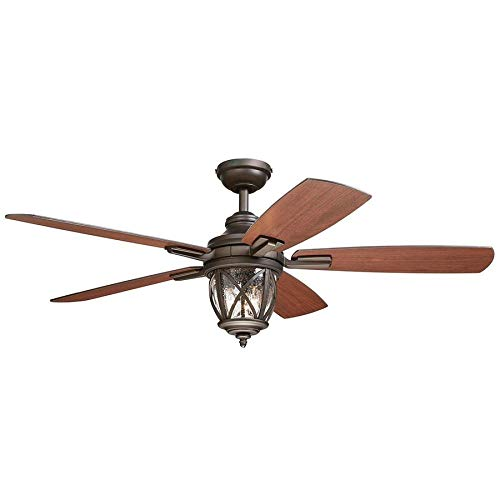 allen + roth 1-Pack Castine 52.0-in Rubbed bronze Downrod or close mount Indoor/Outdoor Ceiling Fan with Light Kit