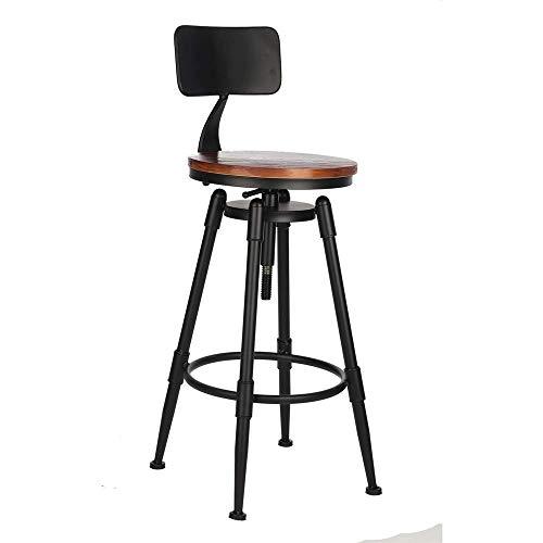 Barstools-BYTGK IJzeren barkruk in hoogte verstelbaar metaal industriële barkrukken met voetsteunen en houten kussens ontbijt eetzaal huisstoelen teller keuken salon Spa Clinic J1120