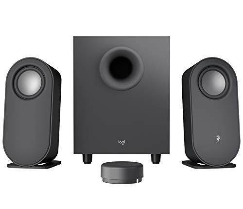 Logitech Z407 Bluetooth Computer Lautsprecher mit Subwoofer und drahtloser Steuerung, Immersiver Sound, Premium Audio mit Mehreren Eingängen, USB Lautsprecher - Schwarz