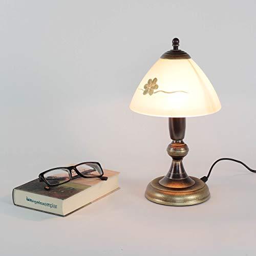 Gemütliche Tischlampe Messing Optik Glas Ø17,5cm Lampe Landhausstil Tischleuchte Nachttischlampe