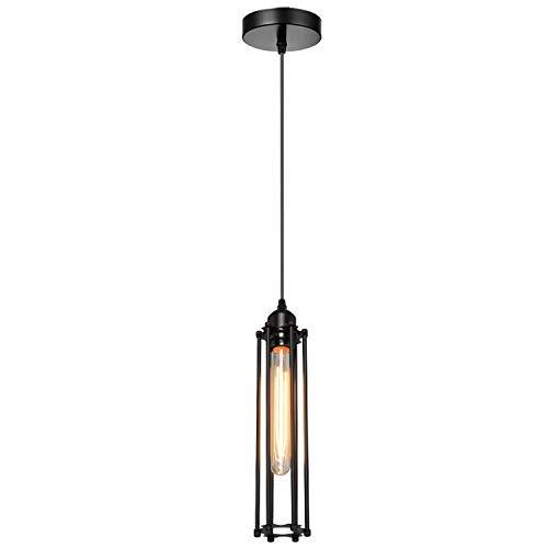 Vintage Retro techo colgante luz racimo montaje negro largo cable jaula lámparas, E27 soporte iluminación kit
