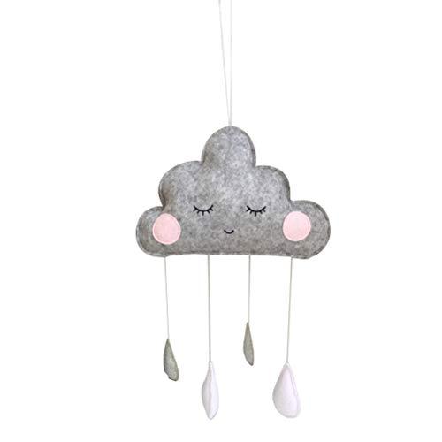 VOSAREA Wolken Regentropfen Hängende Deko Baby Decken Mobile für Babybett Babyparty Kinderzimmer (Grau)