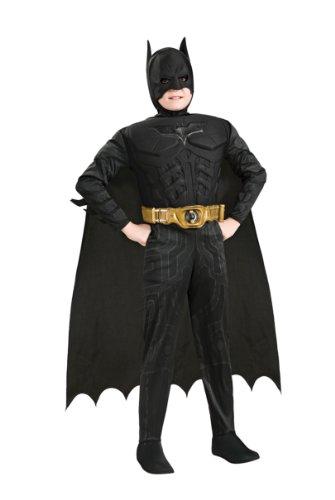 Batman - Kinderkostüm mit Muskeln, 4-teilig, günstiges Fasching Comic Kostüm - M
