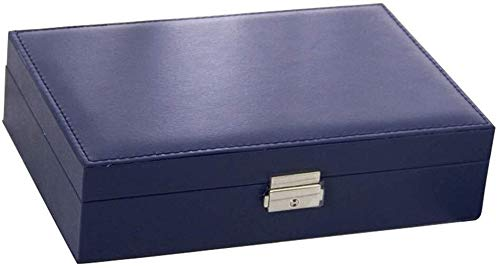 CS-SSH orecchino organizzatore vassoio di monili di cuoio di un strato scatola di immagazzinaggio con serratura orecchino anello collana gemelli (colore : blu, dimensioni: 20.010.015 cm)
