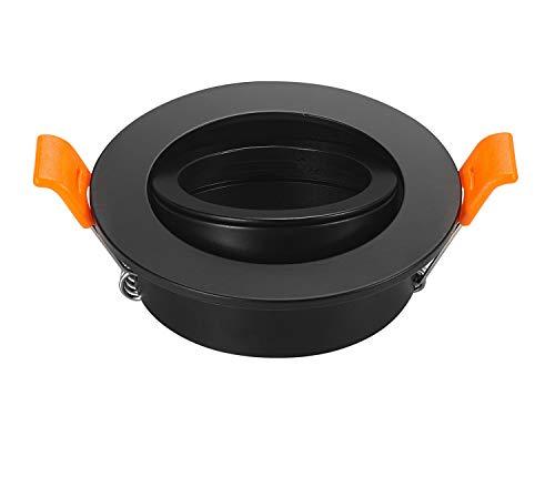 Pack de 2 Downlights LED negros marco redondo soporte de fijación ajustable 65 mm para bombilla MR16 GU10