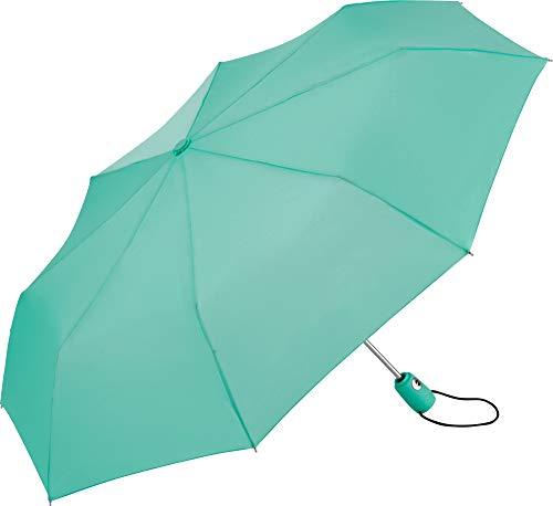 FARE Mini-Taschenschirm – 18 Farben Premium-Regenschirm öffnet-schließt-automatisch flexibel windsicher stabil wasserdicht TÜV-Zertifiziert Markenschirm (minzgrün)