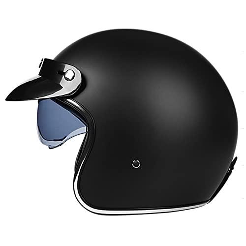 HBRE Casco Moto Certificado CE,Integral Casco De Seguridad con Forro ExtraíBle,Resistente,Transpirable Scooter Casco De ProteccióN para Deportes Al Aire Libre 56-61cm,Elegant-Black,M(56-57cm)