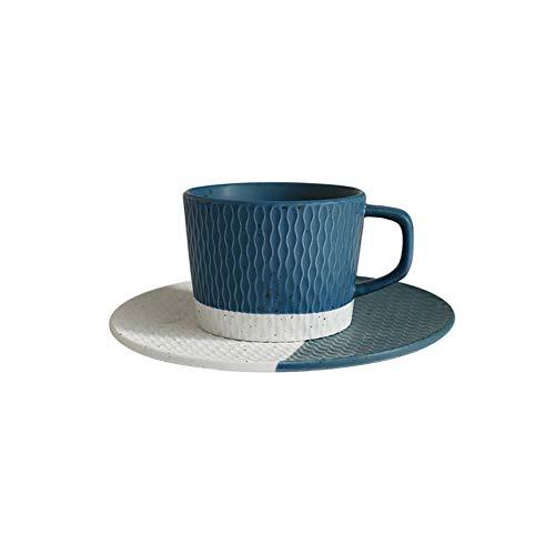 HARVESTFLY Juego de tazas de café y platillos de capuchino – 200 ml, azul – taza de café de porcelana blanca con asa, para café café café café café café café café café
