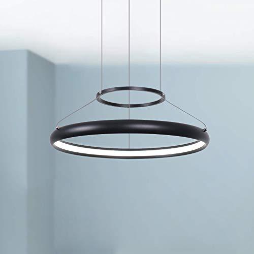 Leniure zwarte ronde LED kroonluchter hanger modern eigentijds plafond hangende verlichtingsarmatuur 40 cm breed 3,5 cm hoog warm wit 3000K