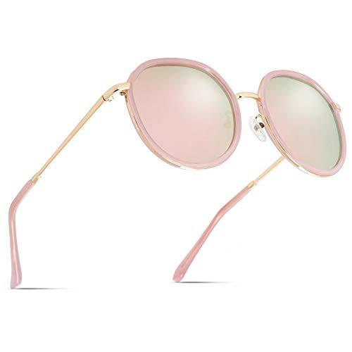 Cyxus Sonnenbrille Damen, Verspiegelt Polarisiert TAC Rosa Brillenglas, Vintage Rund Groß Sonnenbrille