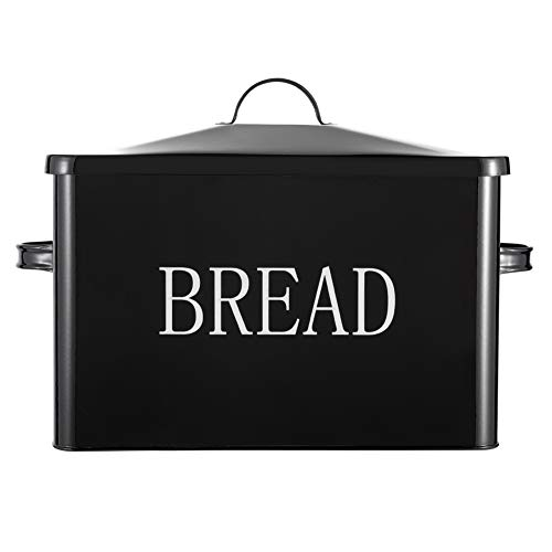 HOSEN Metal Bread Box-Extra Large Bread Storage Boxes for Kitchen - 2+ Loaves (Black)