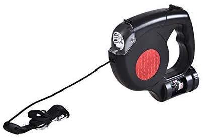 Made4Pets Klassische Hundeleine mit LED Licht Taschenlampe und Kotbeutelspender 5 Meter Einziehbare Leine für Große und Kleine Hunde Maximales Gewicht 40KG mit Beutelspender Kotbeutel