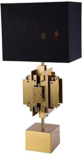 nakw88 Lámpara de Mesa Decorativa clásica China, Pantalla de Tela, Estudio de Lujo, Sala de Estar, Dormitorio, lámpara de Mesa de Metal 35 * 74 cm Lámpara de Mesa