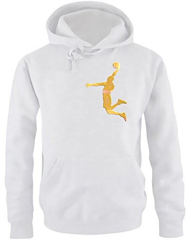 Coole-Fun-T-Shirts Dunk Basketball Slam Dunkin Kinder Sweatshirt mit Kapuze Hoodie Weiss-Gold, Gr.164cm