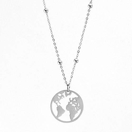 YOUHU Collana Signora,Vintage World Map Metal Silver Pendant Earth Day Scava Fuori Jewellery Anniversario Compleanno Regalo di Natale Unisex, Lunghezza 55 Cm