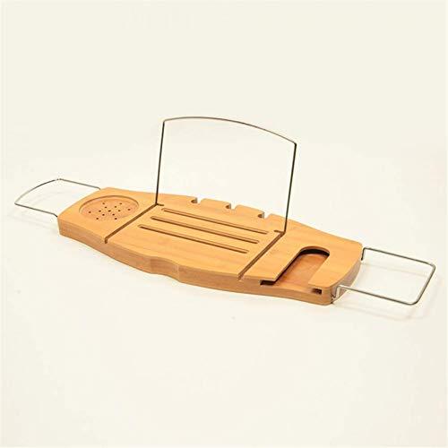 RUIXFRU Bandeja de baño extensible de bambú para bañera o bañera