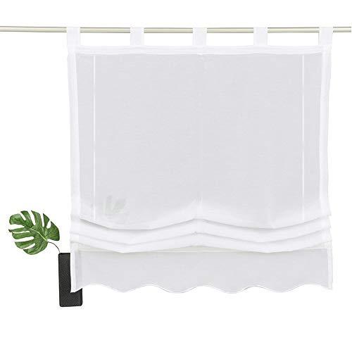 NECOHOME Baumwolle Raff Vorhang im Landhausstil Schlaufen Zugrollo mit Stickerei Überbackener Unterseite Halbtransparent Fenster Gardinen für Küche (weiß, 100x140cm)