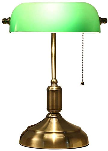 LXYZ Schlafzimmer Tischlampe, Executive Schreibtischlampe mit Glasschirm Antik Messing LED Tischlampe