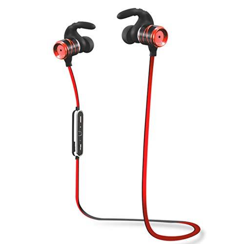 Wsaman Deportivos Auriculares,Auricular Bluetooth Inalámbrico Negocio con Micrófono Resistente al Agua Impermeables para Deportes Oficina en Casa Trabajo,Rojo