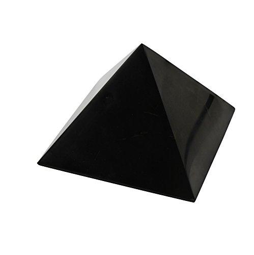 Polierte Schungit-Pyramide 8 cm, Enthält Fullerene | Authentischer Schungit Steinfigur aus Karelien, Russland | 8 Zentimeter Pyramide, Poliert