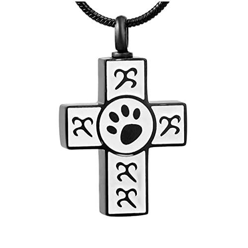 wcylj Joyas para Cenizas Urnas De Recuerdo Collar De Cenizas Acero Inoxidable 316L Joyería Conmemorativa Colgante De Cremación De Patas para Mascotas