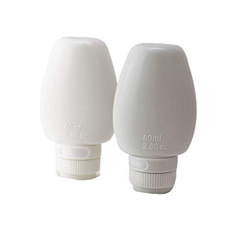 HSC Reise-Aufbewahrungsflasche, tragbar, wiederverwendbar, auslaufsicher, nachfüllbar, für Toilettenartikel, Shampoo, 80 ml, 2 Stück