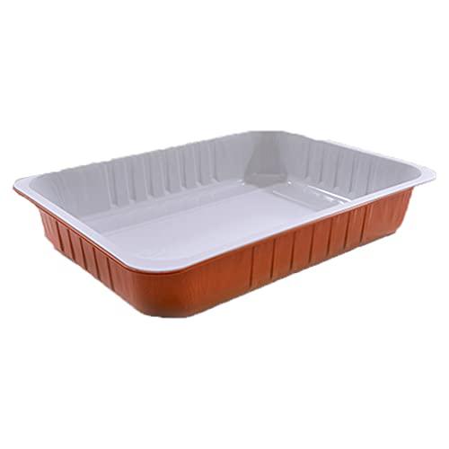 CONTITAL 25 pezzi Vaschette alluminio con coperchio 8 porzioni, contenitori usa e getta per alimenti SMOOTHWALL 322 x 262 x H 60 mm