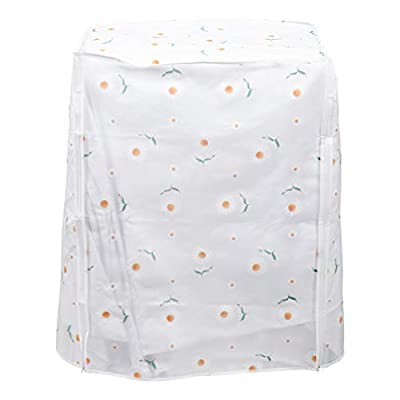Uonlytech Washing Machine Dust Cover Daisy Pattern Waterproof Dust Protection Front Load Washer Dryer Zipped Cover for Household Washing Machine Accessories