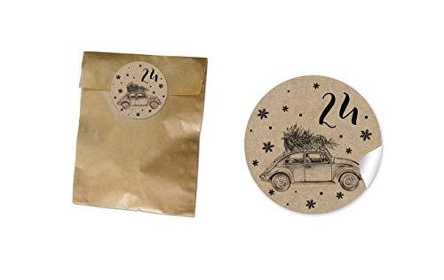 Kleine adventskalender papieren zakken Kerstmis platte zak BRUIN 130 x 95 + 16 mm + Adventskalender 1-24 sticker Ø 4 cm kerstauto TANNE KRACHTPAPIER LOOK