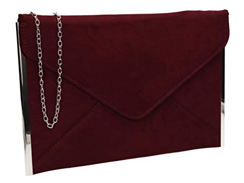 SwankySwans Damen Louis Suede Slim Envelope Party Prom Clutch Bag Tasche, Rot (Burgunderrot), One Size