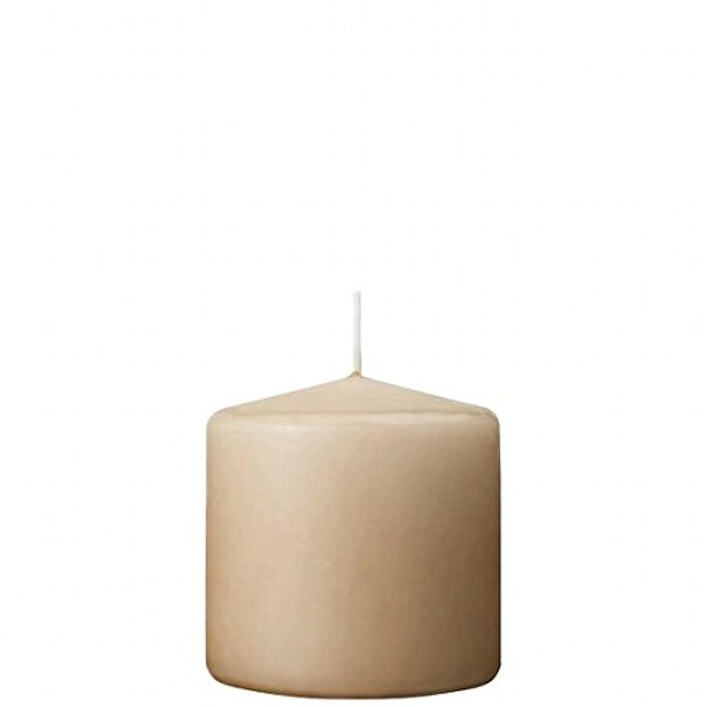博物館不規則性情熱的カメヤマキャンドル( kameyama candle ) 3×3ベルトップピラーキャンドル 「 ベージュ 」