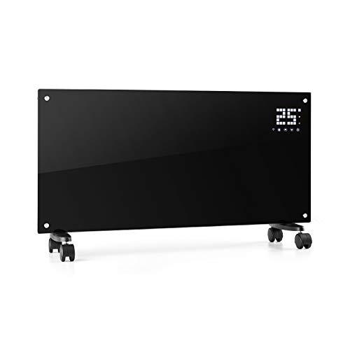 Klarstein Bornholm Smart Konvektions-Heizgerät, 2000 W, SmartHeat Design: WiFi-Verbindung, LED-Display, 24-h-Timer, 2 Heizstufen: 1000/2000 W, IP24: Spritzwassergeschützt, Fernbedienung, pianoschwarz
