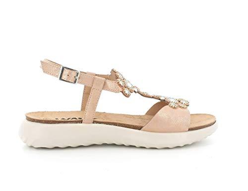 Melluso Sandalo Donna 018066a in Tessuto Cipria con Sottopiede in Memory Foam 37
