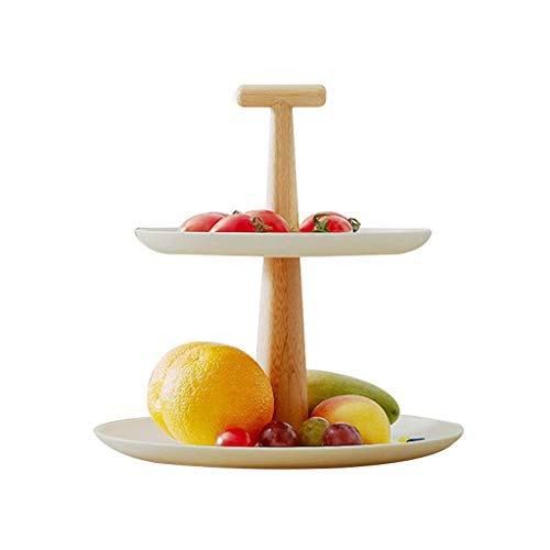 COLiJOL Cuenco de Frutas Plato de Frutas Bandeja de Frutas Moderno de Doble Capa de Fibra de Bambú Plato de Frutas Bandeja de Frutas Soporte para Pasteles Plato de Frutas Secas Cesta de Frutas