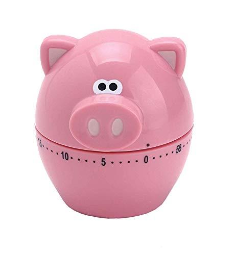 Harold Import Company 60minutos mecánico temporizador de cocina, temporizador Piggy Wiggy, Rosado, 1
