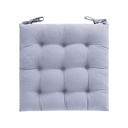 Cuscino per sedia Cuscino per sedile quadrato solido con lacci Cuscino per pavimento in velluto a coste addensato Cuscino per sedia Tatami per yoga Soggiorno Balcone Ufficio Esterno-Grigio v