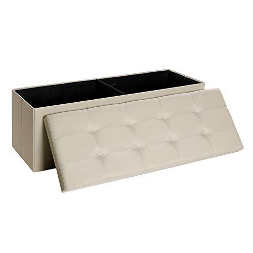 SONGMICS Sitzbank mit Stauraum, Sitztruhe, Aufbewahrungsbox, faltbar, max. statische Belastbarkeit 300 kg, 120 L, 110 x 38 x 38 cm, Leinenimitat, Beige LSF77BE