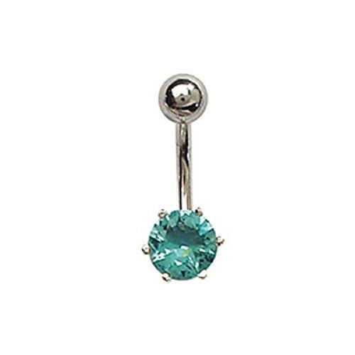 FranceBijoux - Piercing per ombelico rotondo, pietra blu, argento e asta in acciaio chirurgico