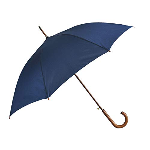 SoulRain Stick Umbrellas Automatic Open Windproof Wood J Handle Rain Umbrella Navy Blue for Men Women Arc Classic Unbreakable 48 Inch